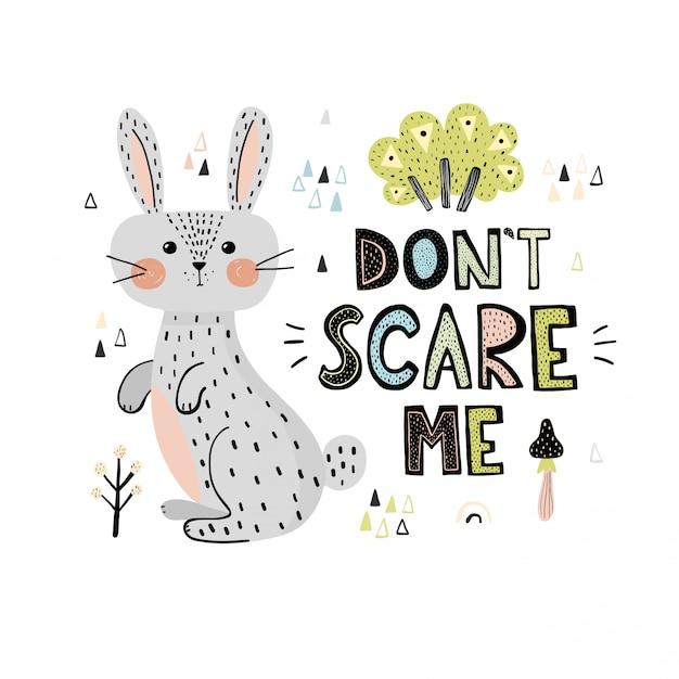 Non spaventare me stampare con una carta coniglio carino Vettore Premium