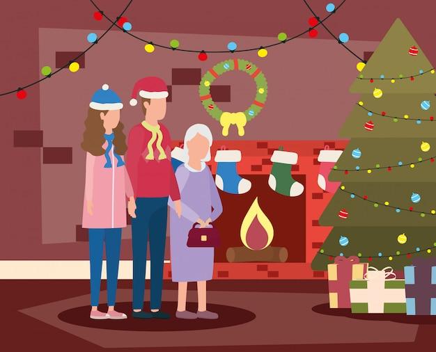 Nonna carina con giovane coppia con cappello di natale Vettore Premium