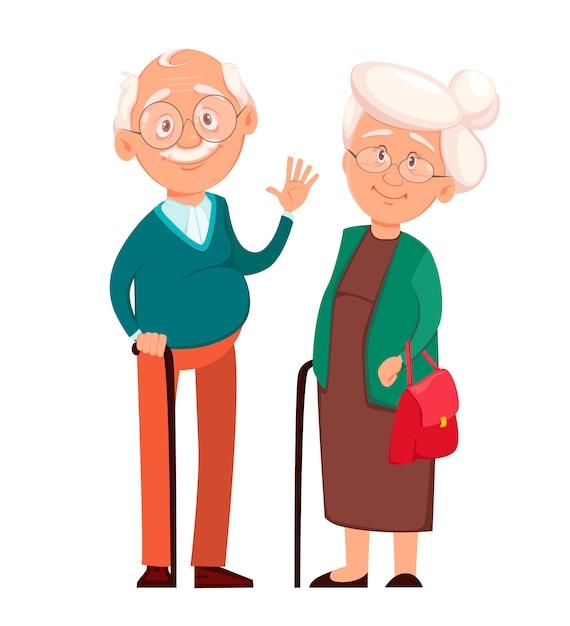 Nonna che sta insieme al nonno Vettore Premium
