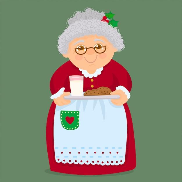Nonna con biscotti fatti in casa Vettore Premium