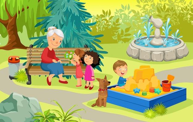 Nonna e nipoti nel parco Vettore gratuito
