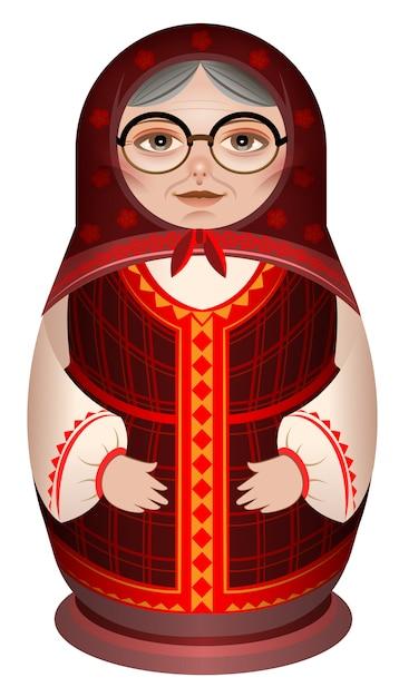 Nonna in matryoshka russo bambola di legno vestiti nazionali Vettore Premium