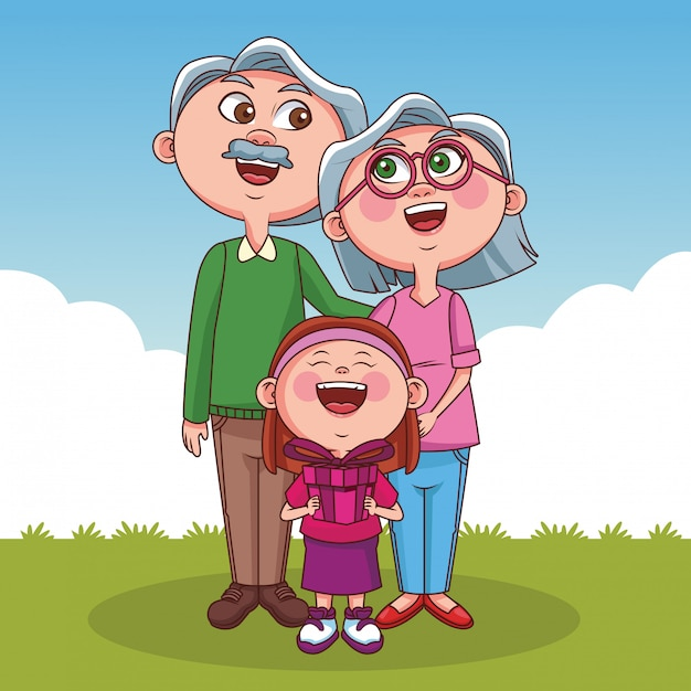Nonni e bambini Vettore Premium
