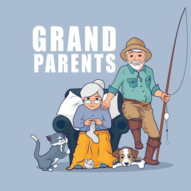 Nonni seduti insieme ai loro animali domestici. felice giorno dei nonni. nonna seduta in poltrona e calzini a maglia. Vettore Premium
