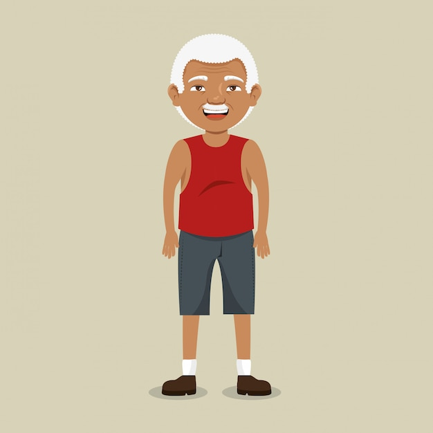 Nonno con abbigliamento sportivo Vettore gratuito