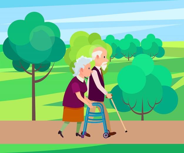 Nonno con bastone da passeggio e donna senior Vettore Premium