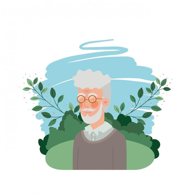 Nonno con carattere avatar orizzontale Vettore Premium