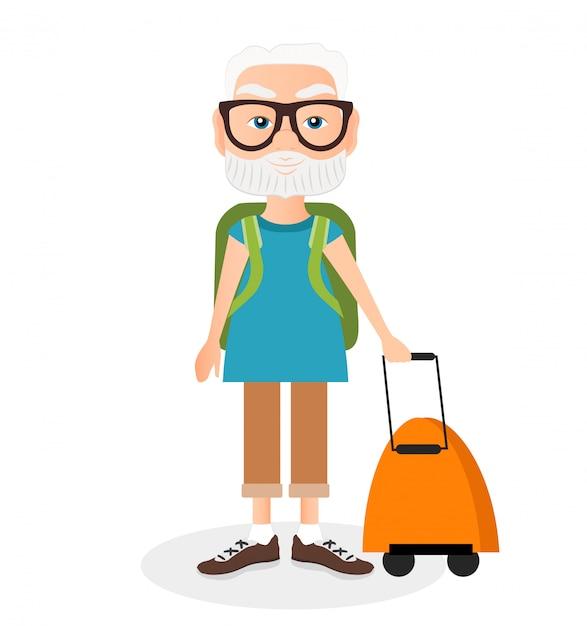 Nonno con un viaggio a pacco. viaggiare con lo zaino. Vettore Premium