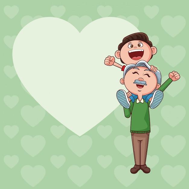 Nonno e bambino Vettore Premium