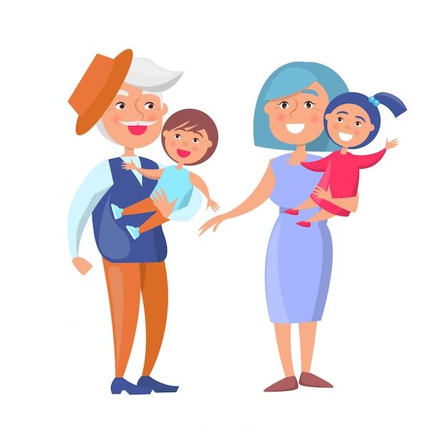 Nonno e nonna maturi dei bambini della tenuta delle coppie Vettore Premium