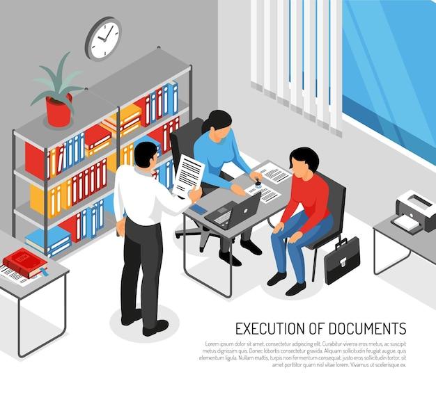 Notaio e clienti durante l'esecuzione di documenti in ufficio interni isometrici Vettore gratuito