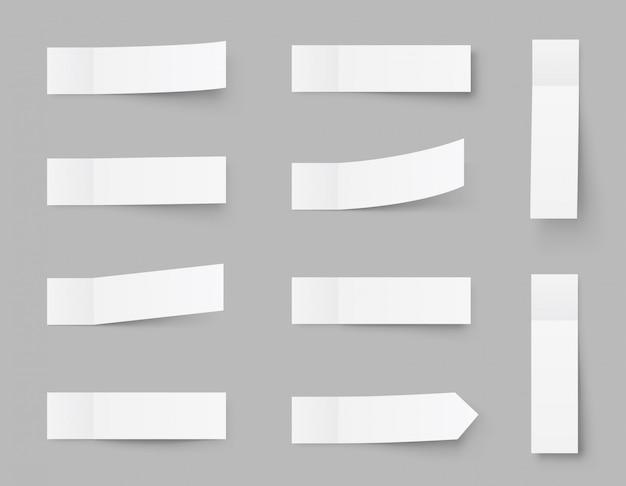 Note appiccicose pealistiche, adesivi post con ombre isolate su un grigio. nastro adesivo di carta con ombra. nastro adesivo di carta, spazi vuoti rettangolari per ufficio. Vettore Premium