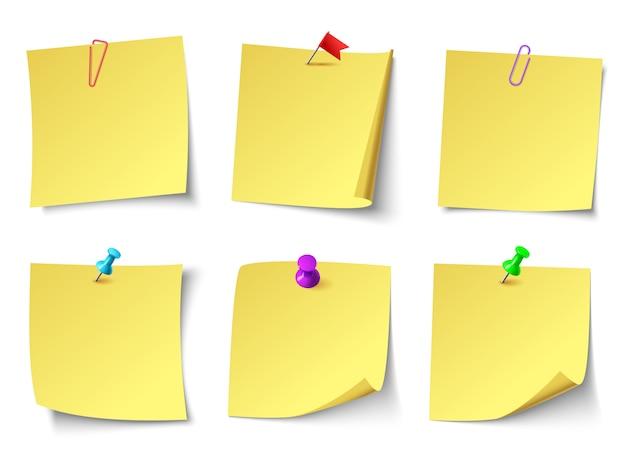 Note di carta gialle. set di adesivi nota vista dall'alto Vettore Premium