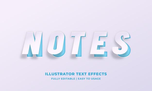 Note libro bianco effetto stile testo Vettore Premium