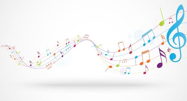 Note musicali colorate Vettore Premium