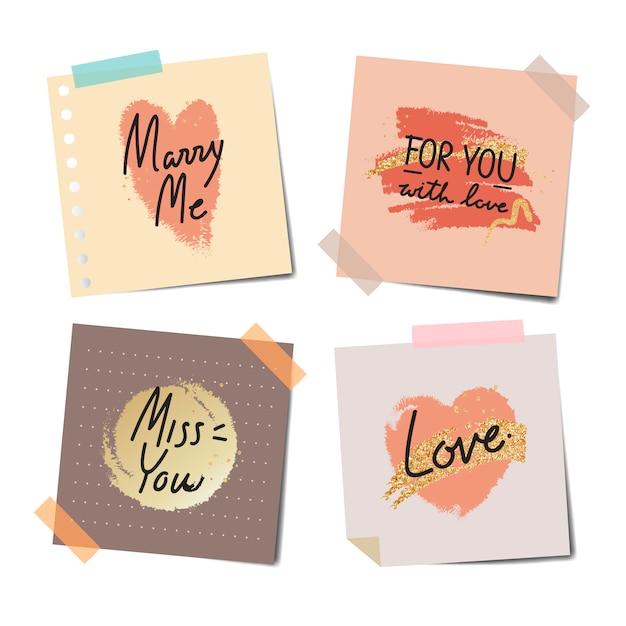 Note registrate di messaggi dolci Vettore gratuito