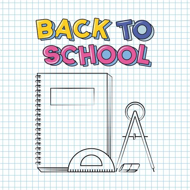 Notebook, righello trasportatore, bussola, ritorno a scuola doodle disegnato su un foglio di griglia Vettore gratuito