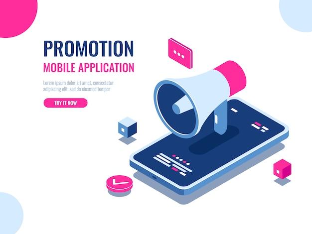 Notifica mobile, altoparlante, pubblicità e promozione di applicazioni mobili, gestione delle pubbliche relazioni digitali Vettore gratuito