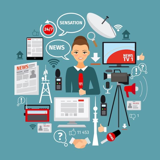 Notizie e concetto di giornalista Vettore Premium
