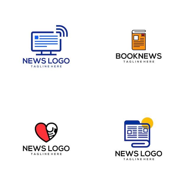 Notizie logo Vettore Premium