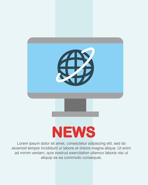 Notizie mondiali sullo schermo del computer Vettore Premium
