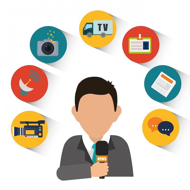 Notizie multimediali e trasmissioni Vettore Premium