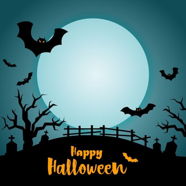 Notte di halloween alla tomba, sfondo di halloween. Vettore Premium