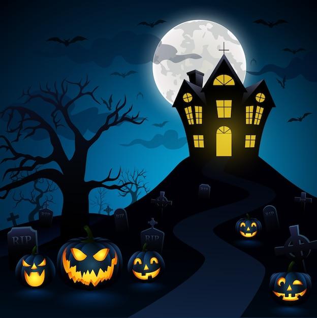 Notte di halloween con una zucca in background Vettore Premium