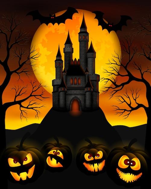 Notte di halloween Vettore Premium