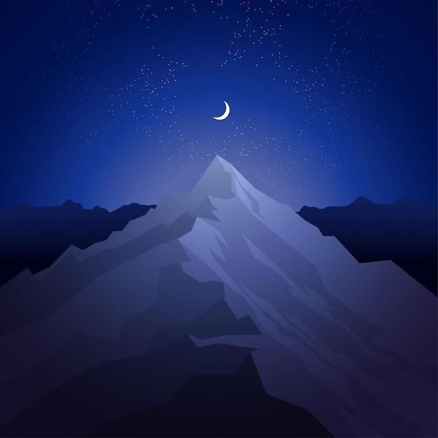 Notte in montagna Vettore Premium