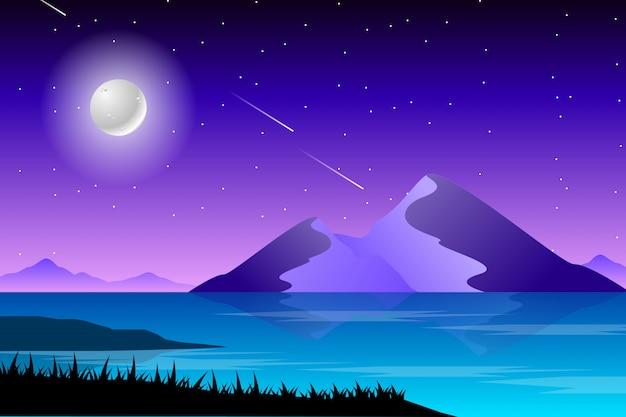 Notte stellata e paesaggio di mare Vettore Premium