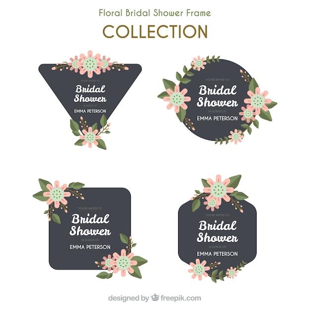 Nozze piatto fotogrammi con fiori blu e rosa Vettore gratuito