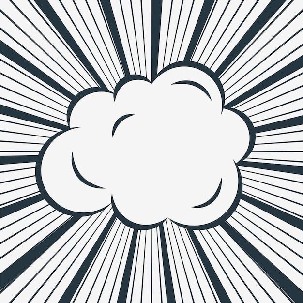 Nube comica su sfondo di linee di zoom Vettore gratuito