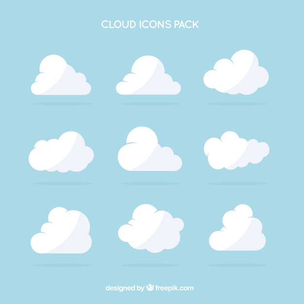 Nube icone bianche pacco Vettore Premium