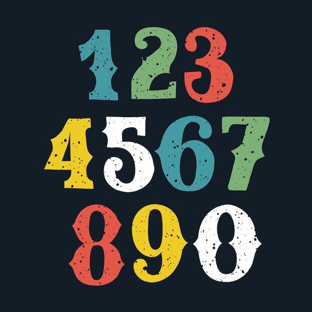 Numeri audaci di colore disegnati a mano e schizzati messi, stile di schizzo. Vettore Premium