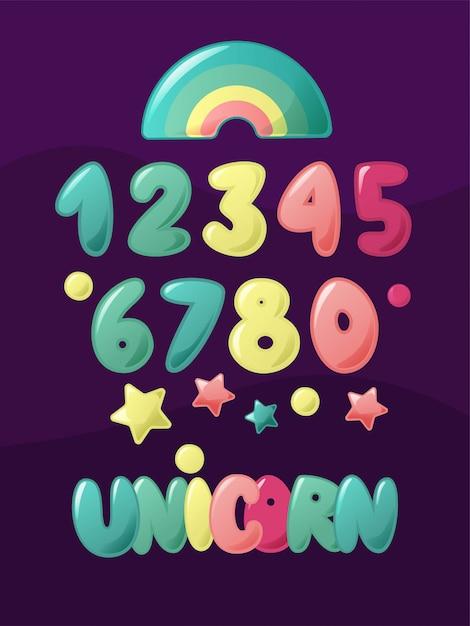 Numeri carini per i bambini. set di cartoni animati per bambini. parola dell'iscrizione della mano dell'unicorno con l'arcobaleno. Vettore Premium