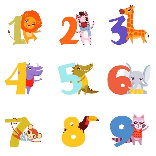 Numeri colorati da 1 a 9 e animali. Vettore Premium