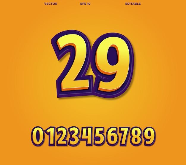 Numeri comici modificabili Vettore Premium