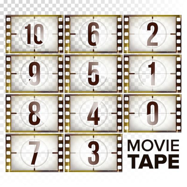 Numeri conto alla rovescia film 10 - 0 Vettore Premium