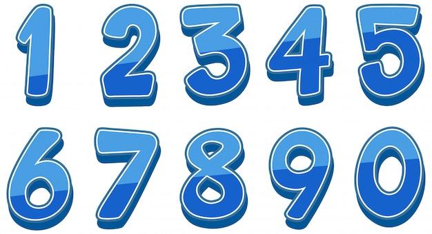 Numeri da uno a zero su bianco Vettore Premium
