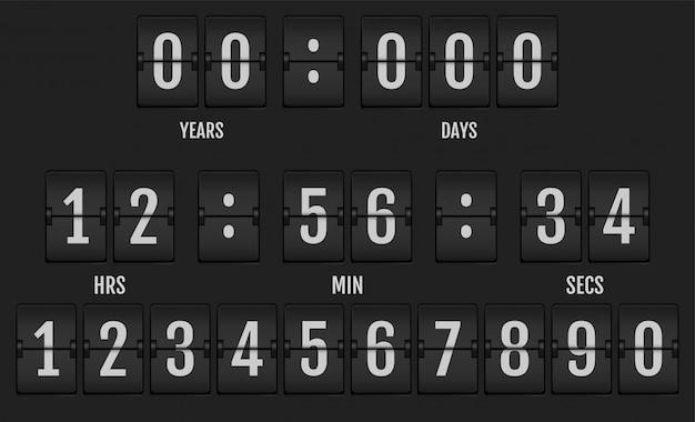 Numeri dall'alfabeto meccanico del tabellone segnapunti. Vettore Premium