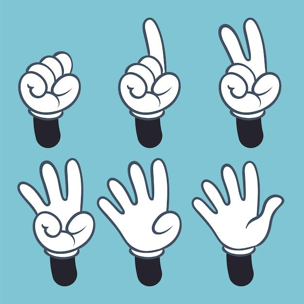 Numeri delle mani. il fumetto passa la gente in guanto, conteggio della palma due tre uno quattro quattro di lingua dei segni, illustrazione Vettore Premium