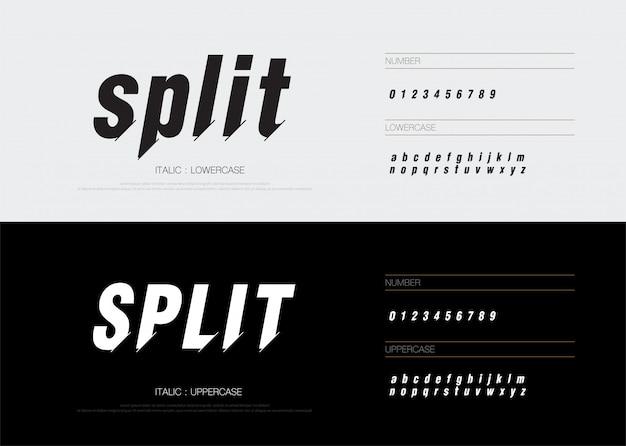 Numeri di alfabeto di carattere astratto moderno diviso in corsivo Vettore Premium