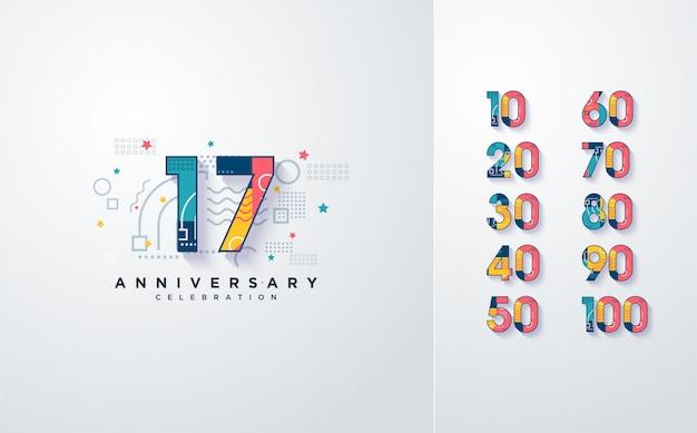 Numeri di celebrazione con elementi astratti colorati. Vettore Premium