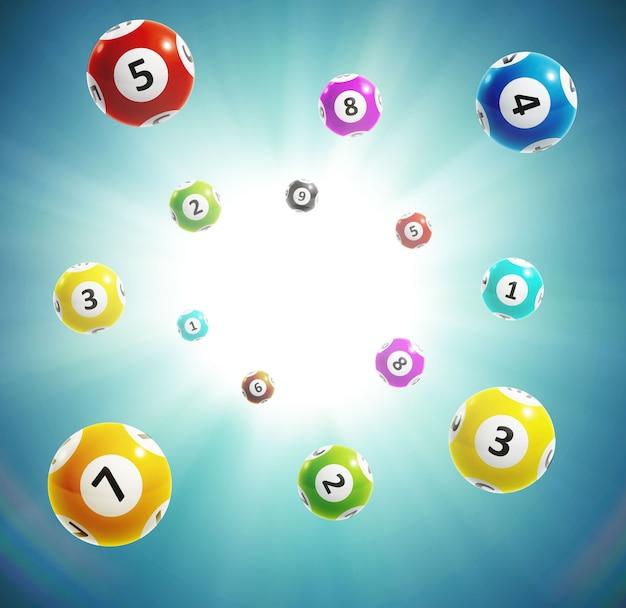 Numeri di lotteria della sfera 3d Vettore Premium