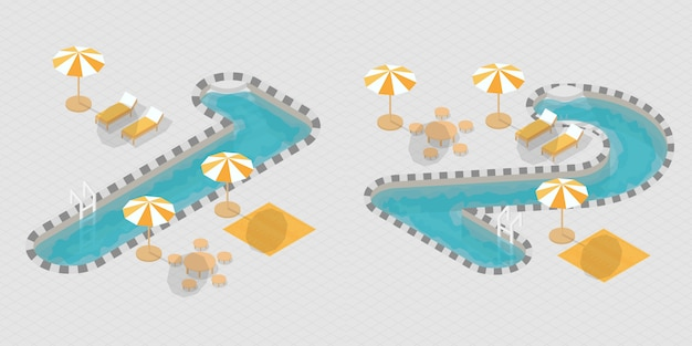 Numeri di piscine 3d isometriche Vettore Premium