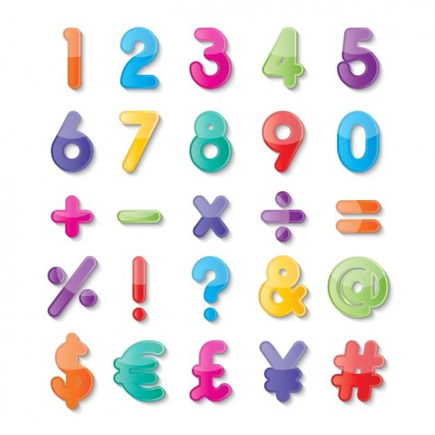 Numeri e simboli di colori Vettore gratuito