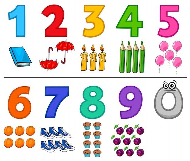 Numeri educativi dei cartoni animati con oggetti Vettore Premium