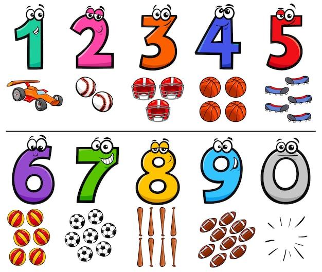 Numeri educativi dei cartoni animati impostati con oggetti sportivi Vettore Premium