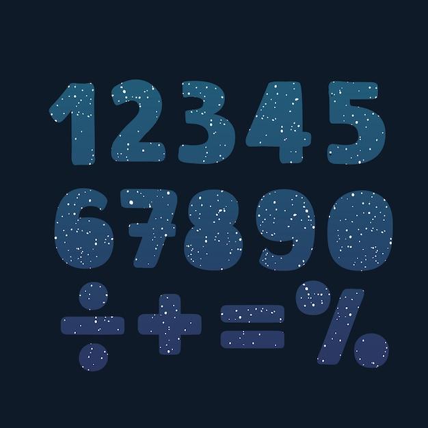 Numeri in un colore geometrico astratto e forma cosmica da triangoli poligonali e logo di poligoni su sfondo nero. illustrazione Vettore Premium
